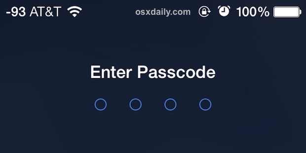 Экран ввода пароля на iPhone