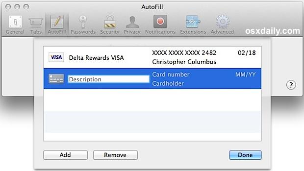 Safari добавляет информацию о кредитной карте в автозаполнение с помощью Связки ключей iCloud