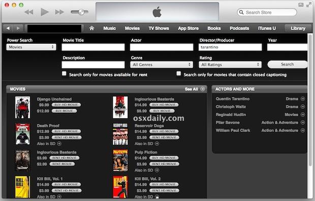 Мощный поиск фильмов в iTunes