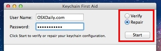 Ремонт связки ключей в Mac OS X
