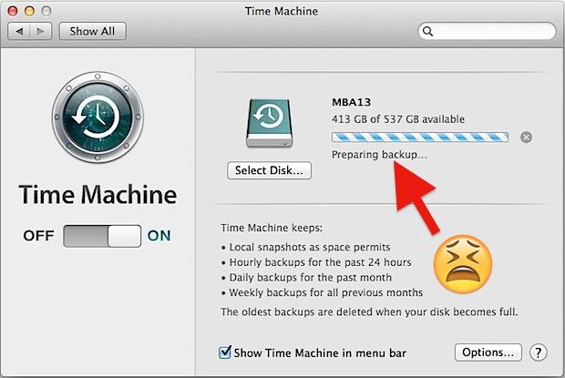 Time Machine зависла при подготовке резервной копии
