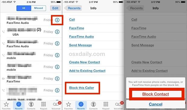 Блокировать контактные звонки и сообщения на iPhone