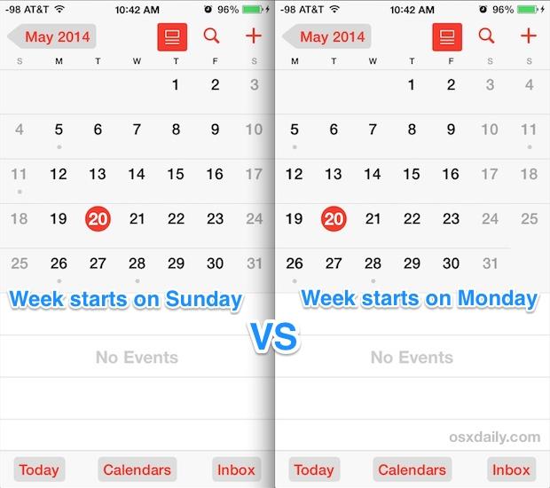 Неделя начинается с понедельника по воскресенье в приложении Календарь iOS