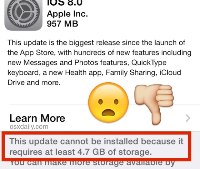 Ios 8 Update Cannot Be Installed Because It Requires Gb Of Storage Heres How To Install It Anyway