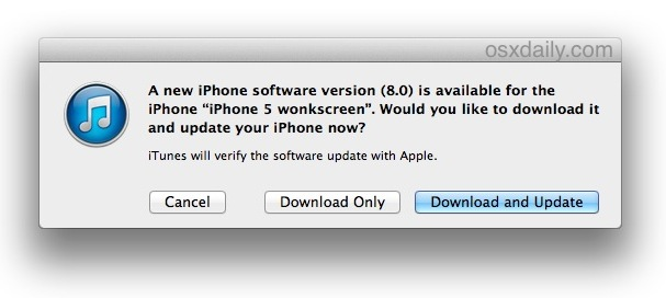 Обновление до iOS 8 с помощью iTunes