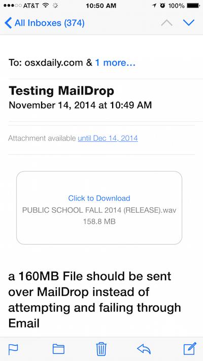 Mail Drop в электронной почте для iOS