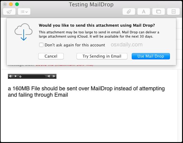 Используйте Mail Drop для отправки большого файла по электронной почте в Mac OS X