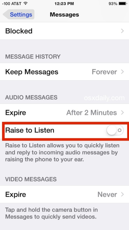 Поднимите, чтобы слушать, и поднимите, чтобы ответить на звуковые сообщения в iOS