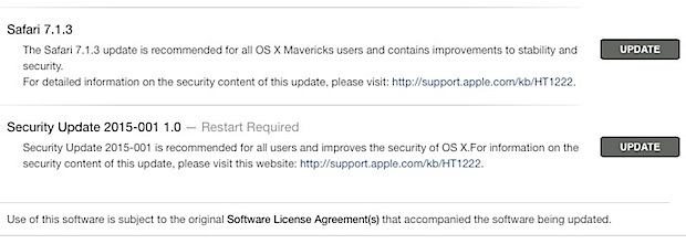Обновление безопасности 2015-001 для OS X Mavericks и Mountain Lion