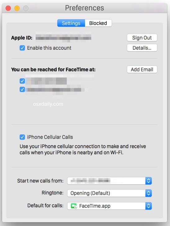 Включение сотовых вызовов iPhone на Mac