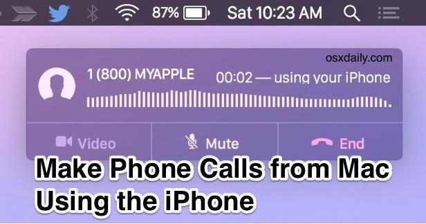 Совершение и прием телефонных звонков с Mac с iPhone