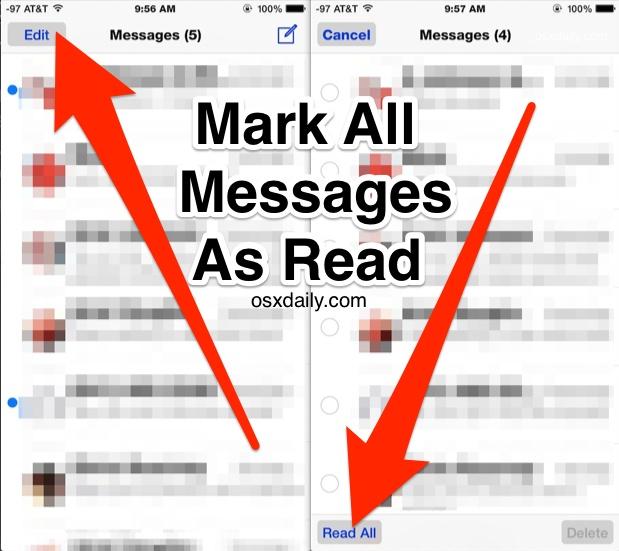 Пометка всех сообщений как прочитанных в iOS, как показано на iphone