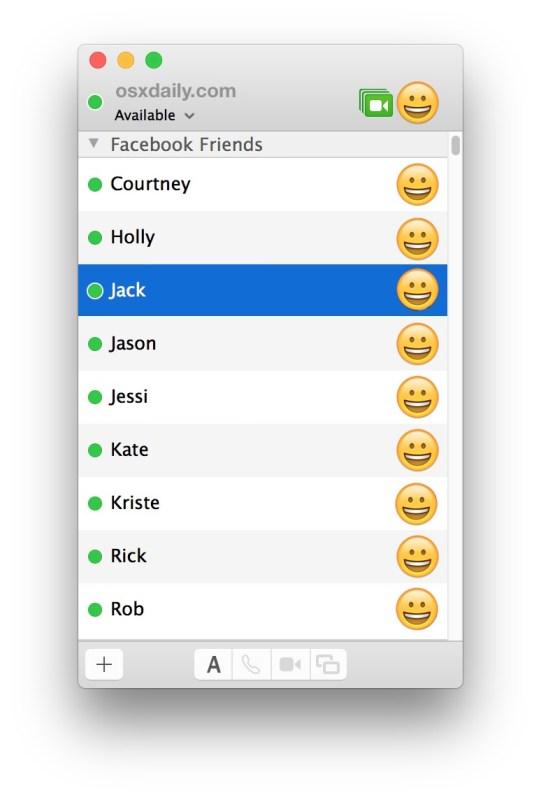 Список друзей Facebook Messenger в приложении Mac Сообщения