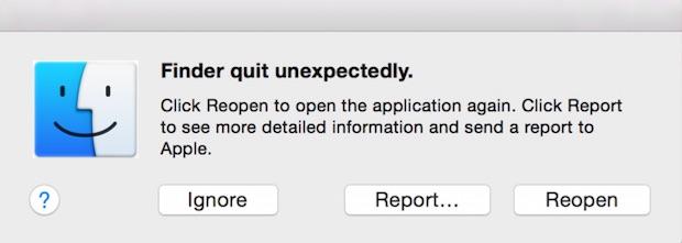 Сбой Finder в Mac OS X