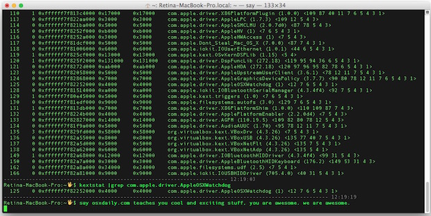 Загрузка и выгрузка расширений ядра в Mac OS X