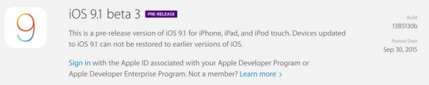 iOS 9.1 бета 3