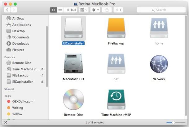 Переименуйте целевой USB-накопитель для загрузочного диска OS X El Capitan в ElCapInstaller.