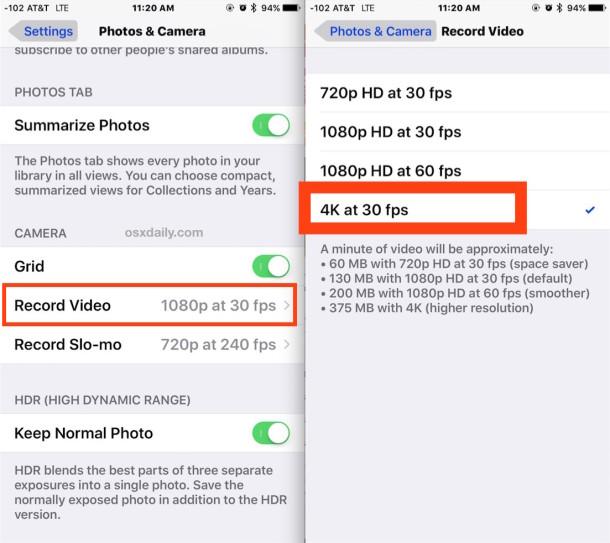 Включение записи видео 4K на камеру iPhone