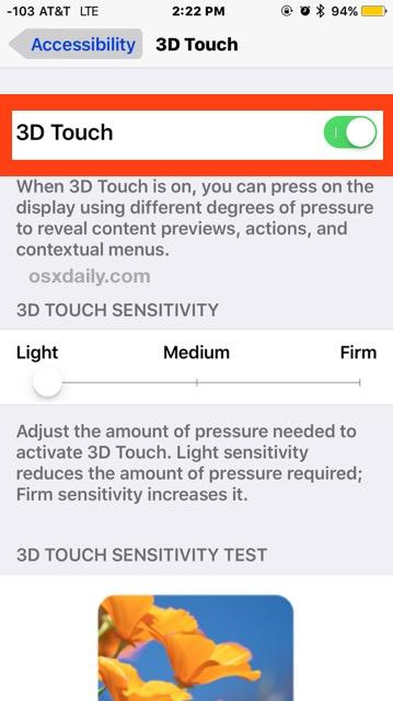 Enable 3D Touch on iPhone