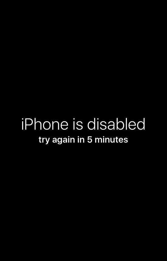 iPhone отключен, попробуйте еще раз розыгрыш обоев