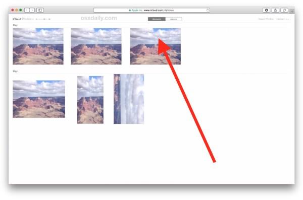 Выберите фотографию, которую хотите загрузить из iCloud