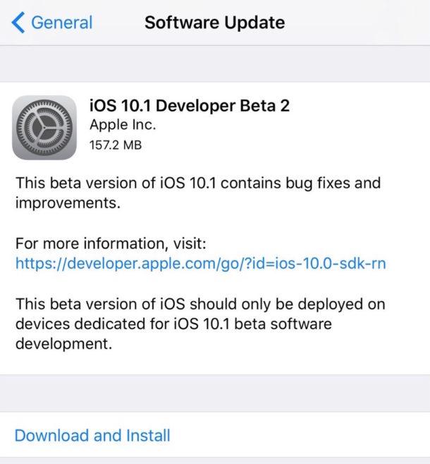 iOS 10.1 бета 2