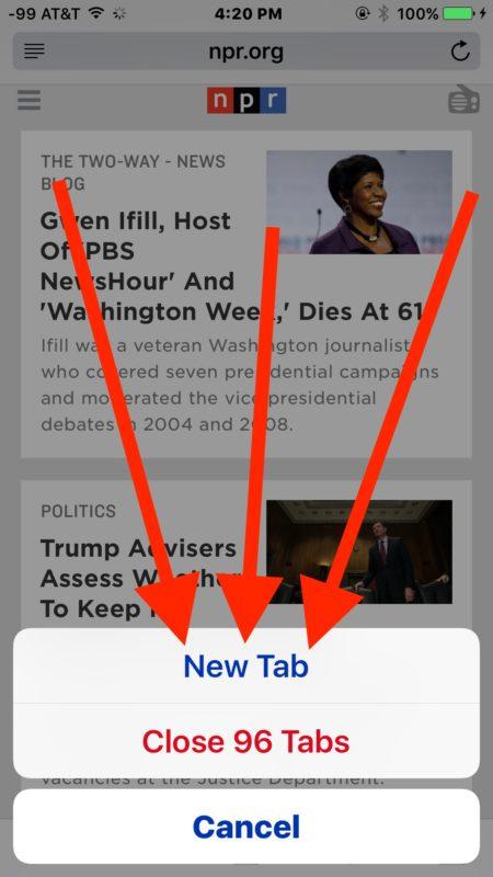 Быстрое открытие новой вкладки в Safari для iOS