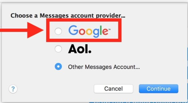 choose-google-as-chat-provider-mac-messages-610x335