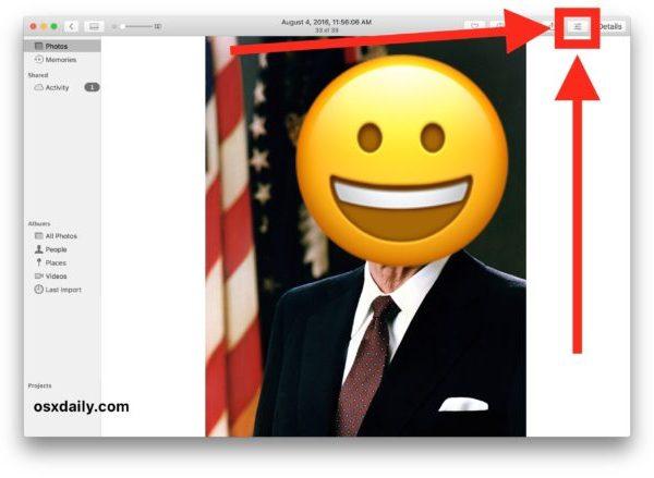 Choose the photo editing adjustment option