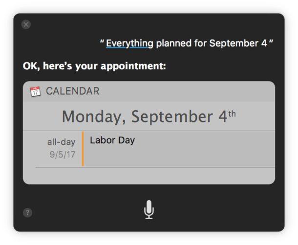 Siri показывает все, что запланировано на определенный день календаря