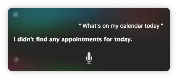 Siri говорит, что сегодня в Календаре нет встреч