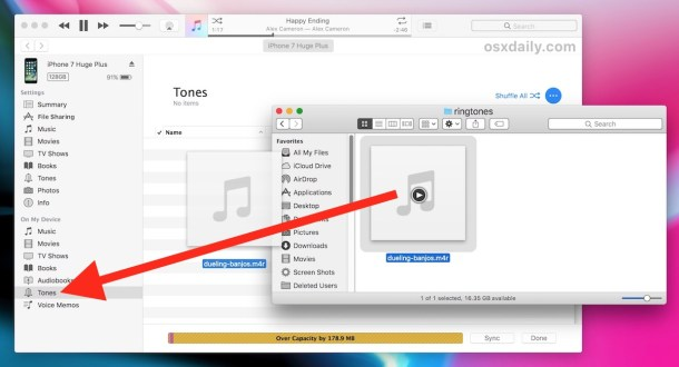 Copy a ringtone to iPhone in new iTunes version