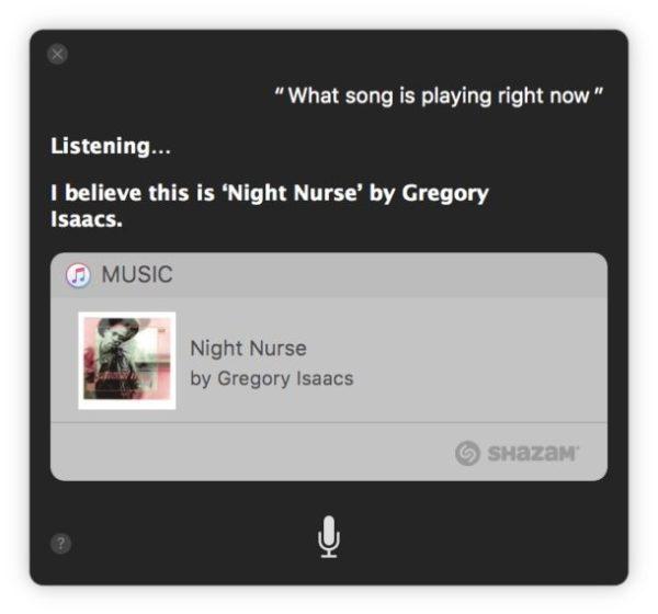 Определение того, какая песня играет на Mac с помощью Siri