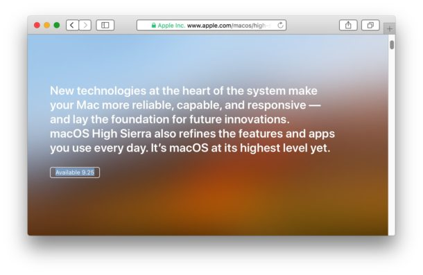 MacOS High Sierra release date as seen on Apple webpage