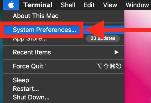 Системные настройки из меню Apple