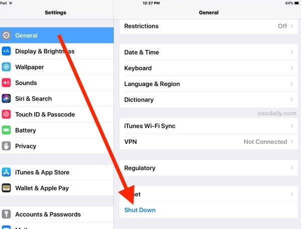 Как выключить iPad или iPhone через настройки