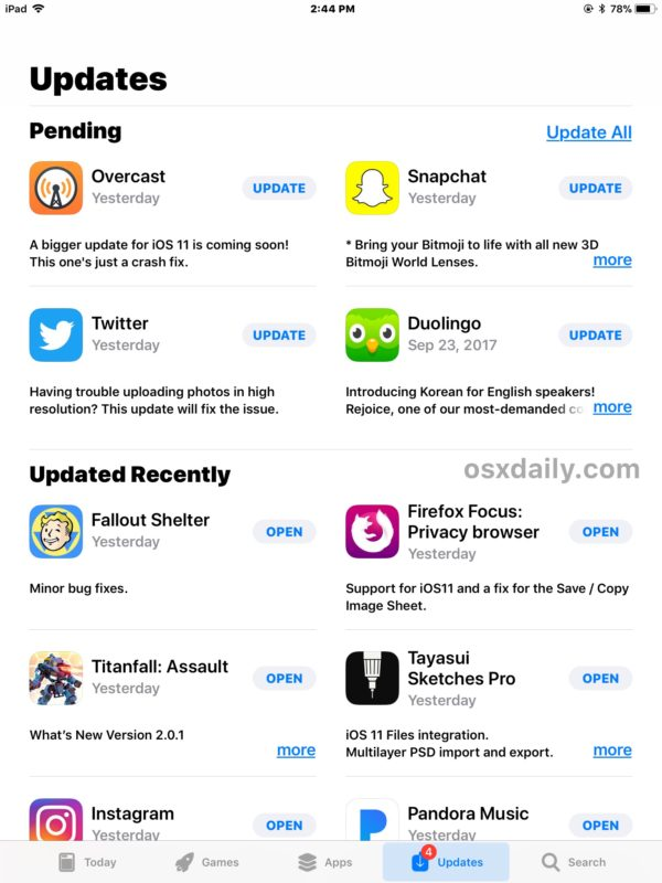 The Updates tab of App Store