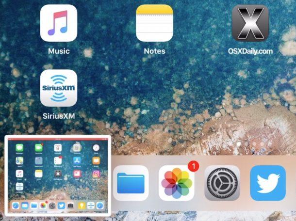 Предварительный просмотр скриншота в углу в iOS