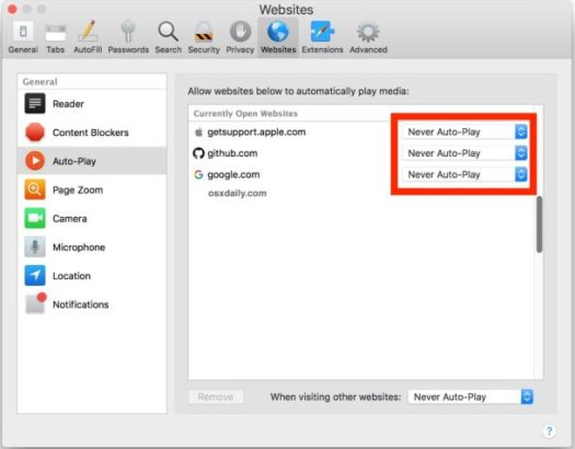 Disable Autoplay in Safari for specific websites