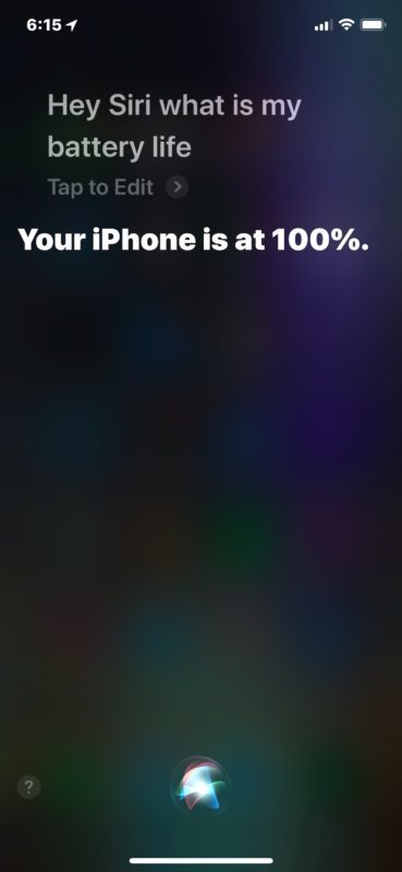Получите оставшийся заряд батареи от Siri на iPhone