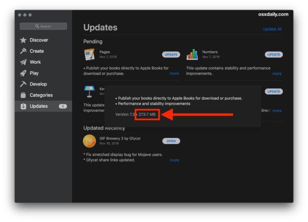 Как узнать размер обновлений Mac App Store перед их загрузкой