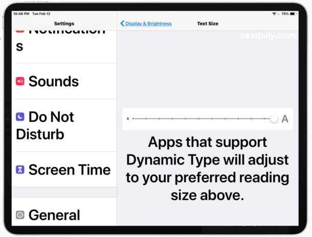 Как увеличить размер текста на iPad