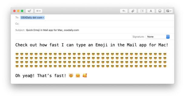 Как быстро добавить эмодзи в электронную почту на Mac