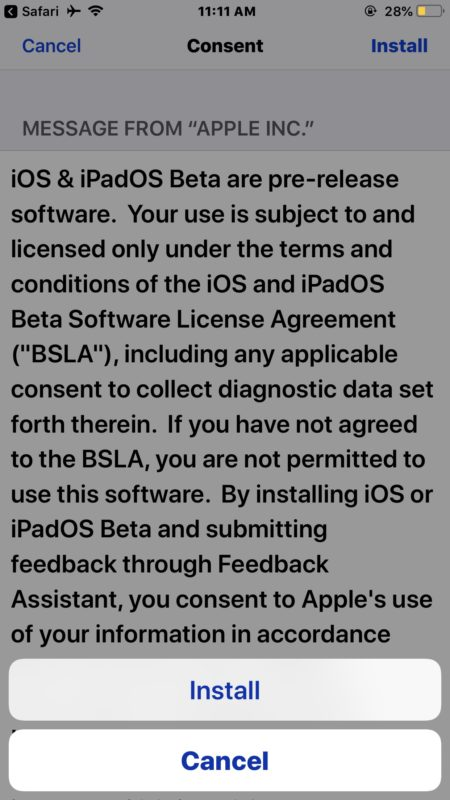 Consent to the iOS 13 beta license terms to install the profile