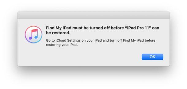 Перед восстановлением iOS или iPadOS необходимо выключить функцию «Найти iPhone».