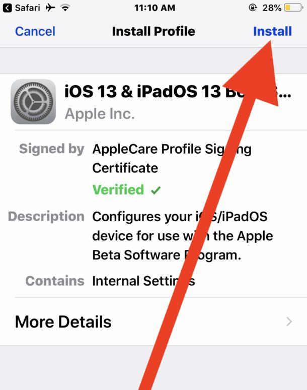 Install the iOS 13 public beta configuration profile