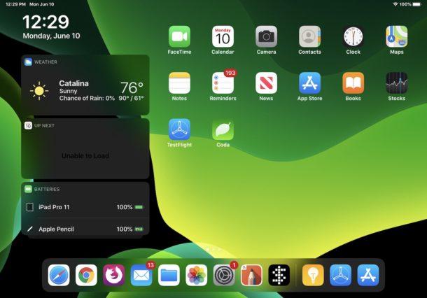 iPadOS iOS 13 снимок экрана домашнего экрана