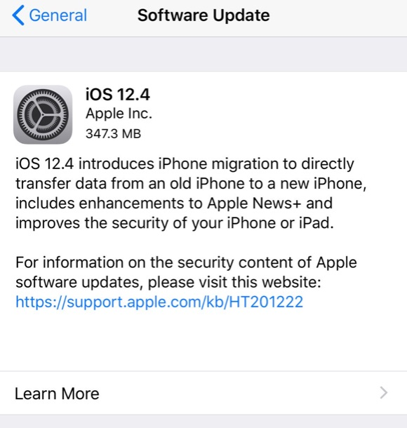 iOS 12.4 update available to download