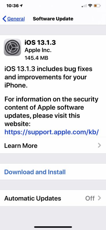 iOS 13.1.3 обновить