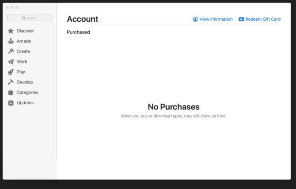 Mac App Store no purchases error message